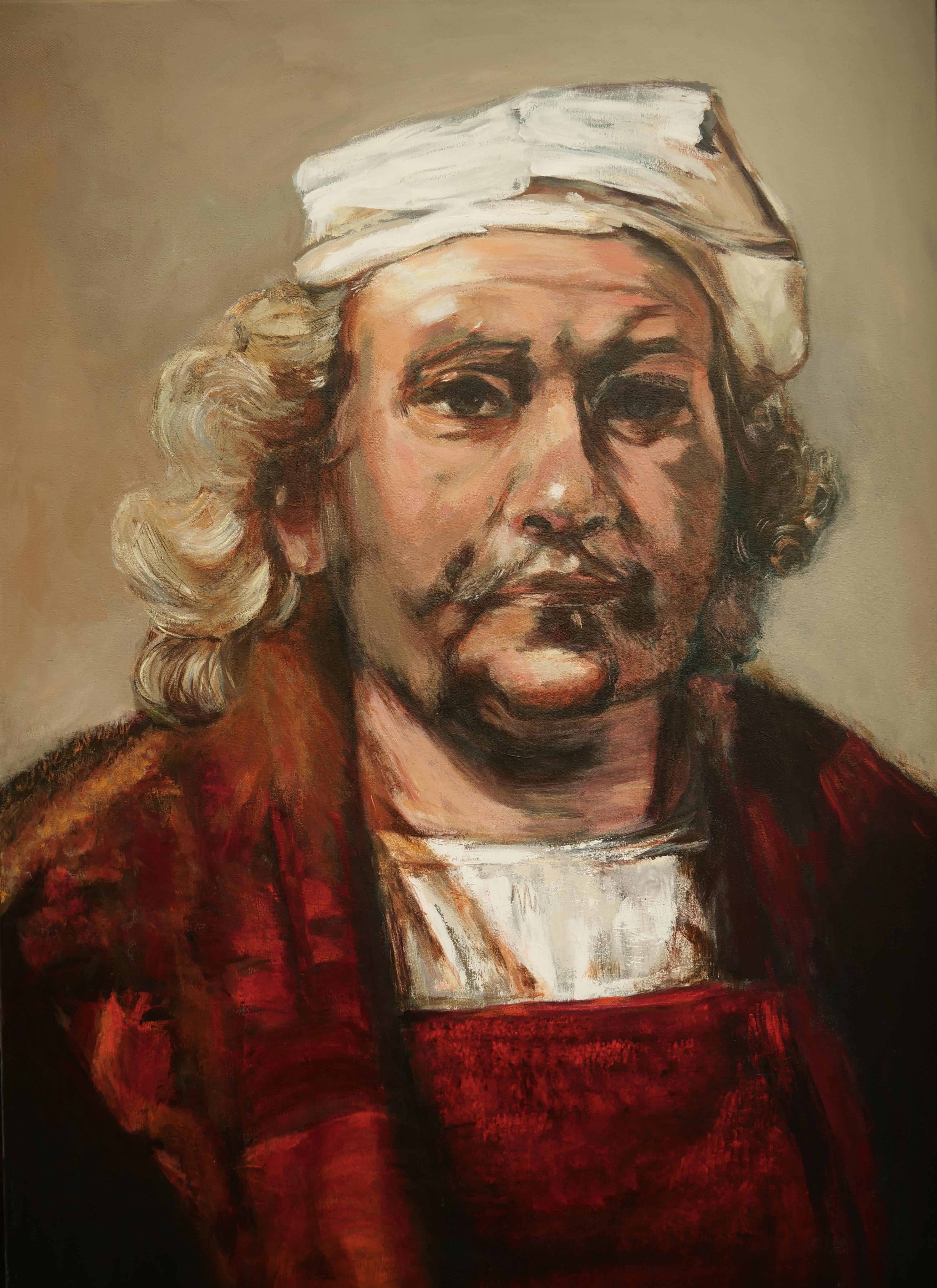 Zelfportret Rembrandt 70 x 100 met acryl