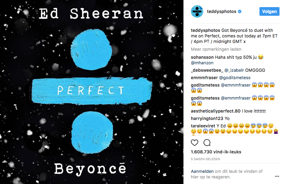 Kersthit 2017: Ed Sheeran en Beyonce met Perfect
