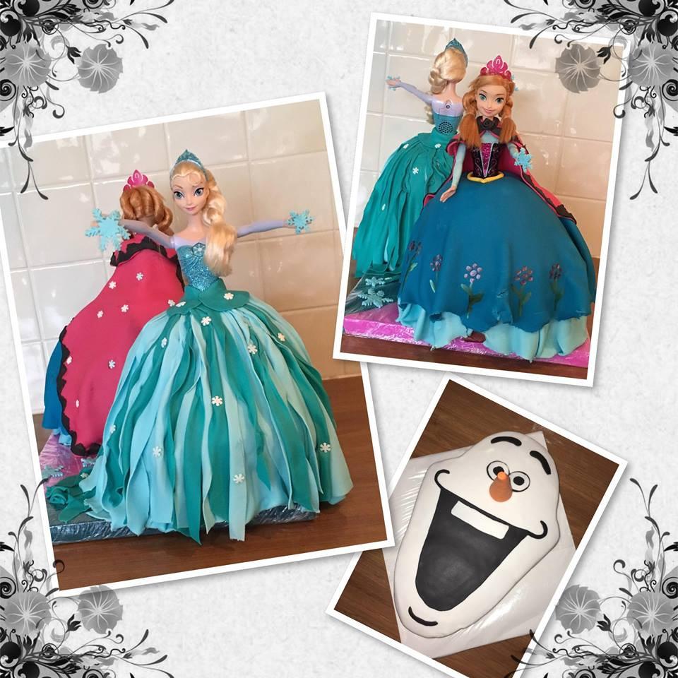 Elsa, Anna en Olaf taarten