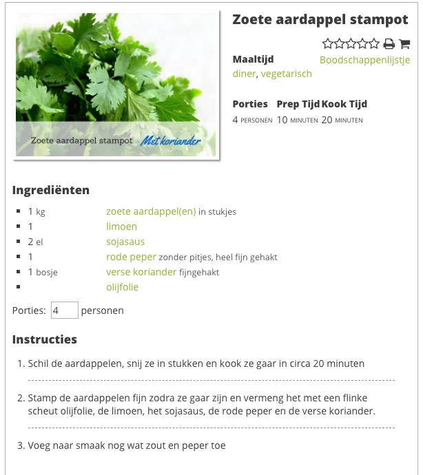 Recept Zoete aardappel puree
